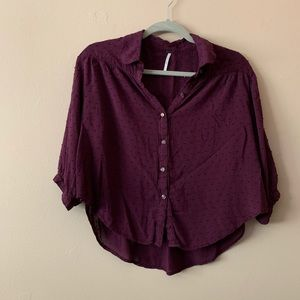 Free People Maroon Cropped Blouse